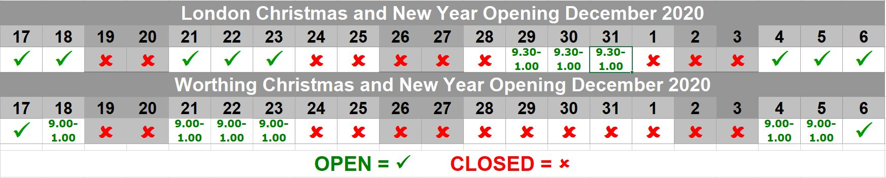 Howarth of London Opening Hours for Christmas & New Year 2020